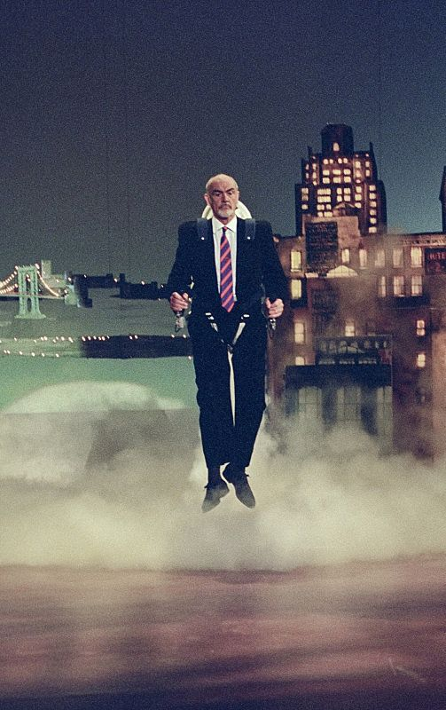 "Sean Connery enters the stage via Jet Pack on ""The Late Show with David Letterman,"" October 25, 1993 on the CBS Television Ne"