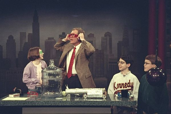 "Kid Scientists on ""The Late Show with David Letterman,"" March 3,1998 on the CBS Television Network.  Photo: Alan Singer/ CBS"