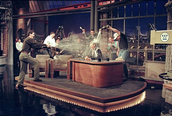 "The New York Yankees Shower Dave with champagne on ""The Late Show with David Letterman,"" Oct. 28 1996 on the CBS Television N"