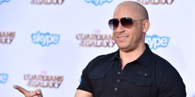 """Vin Diesel arrives at the premiere of """"Guardians Of The Galaxy"""" at El Capitan Theatre on Monday, July 21, 2"""