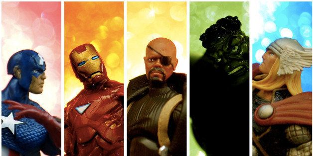 Collage of 3 3/4 inch Avengers action figures from Marvel Comics.
