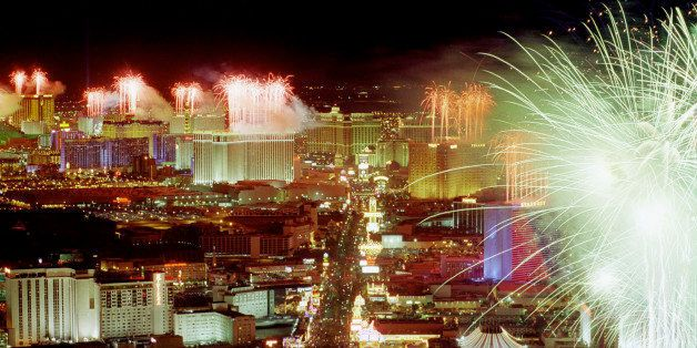 LAS VEGAS, NV - JANUARY 1:  This photo shows an aerial view of hotels and casinos on the Las Vegas, NV strip, as fireworks li
