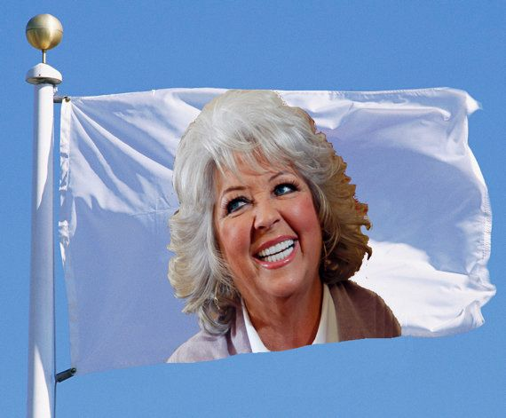 """<strong>EXAMPLE: Flag With A Superimposed Image Of Paula Deen</strong>  The Starch-Spangled Banner earns a mark of 8/10, or """""""