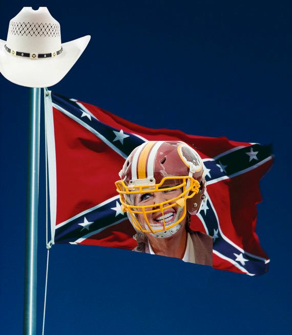 <strong>EXAMPLE: The Confederate Flag With A Superimposed Image Of Paula Deen Wearing A Washington Redskins Helmet Plus That