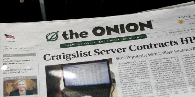 SAN FRANCISCO - MAY 05:  A copy of the Onion is seen in a news rack May 5, 2009 in San Francisco, California. Satirical newsp