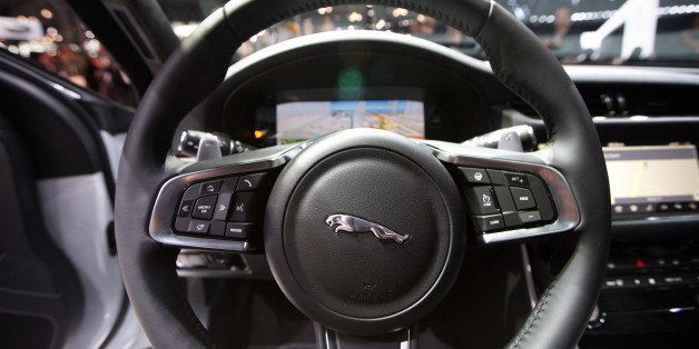 NEW YORK, NY - APRIL 1:  A detail of the interior steering wheel of the 2016 Jaguar  XF as its introduced during press previe