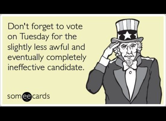 """To send this card <a href=""""http://www.someecards.com/bother-voting-cards/elections-midterm-elections-democrats-republicans"""" t"""