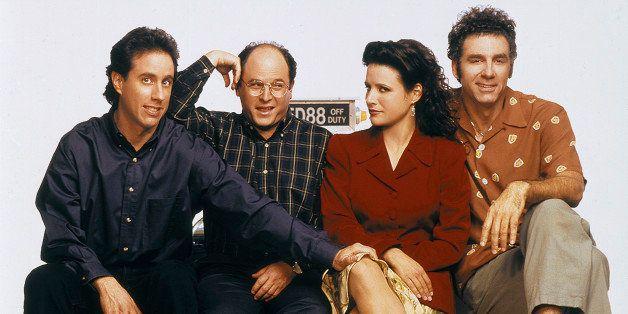 SEINFELD -- Season 6 -- Pictured: (l-r) Jerry Seinfeld as Jerry Seinfeld, Jason Alexander as George Costanza, Julia Louis-Dre