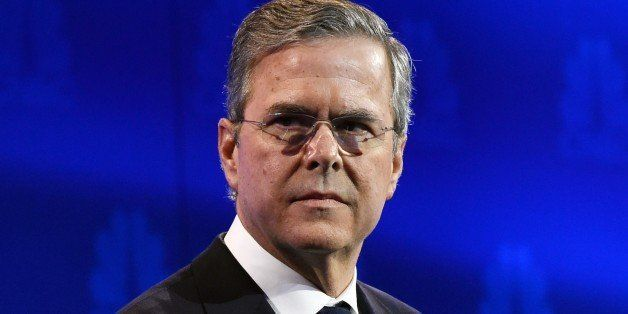 Republican Presidential hopeful Jeb Bush looks on during in the CNBC Republican Presidential Debate, October 28, 2015 at the