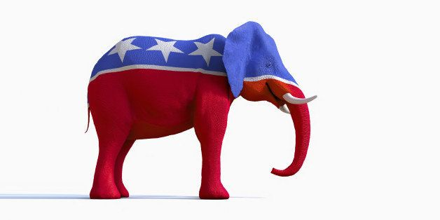 Elephant statue painted red, white and blue