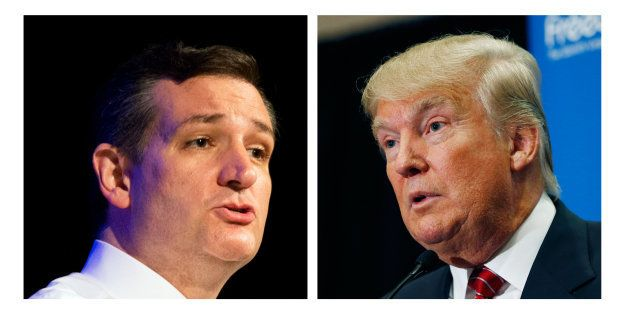 FILE - This two picture combo of file photos shows Republican presidential candidate, Sen. Ted Cruz, R-Texas, left, and Donal