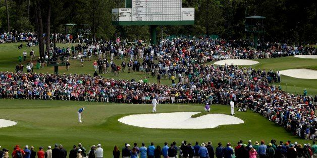 Apr 10, 2016; Augusta, GA, USA; A general view as Jordan Spieth putts on the 2nd green during the final round of the 2016 The