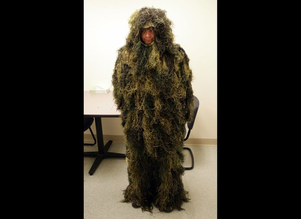 This camouflage might work well in nature, but it really stands out in the police station. Oregon investigators believe Grego