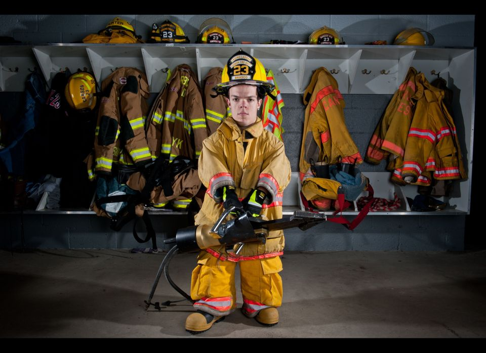 Vince Brasco poses for a picture at a firefighter training station on Dec. 14, 2011 in Pittsburgh, Pennsylvania.   Firemen ar
