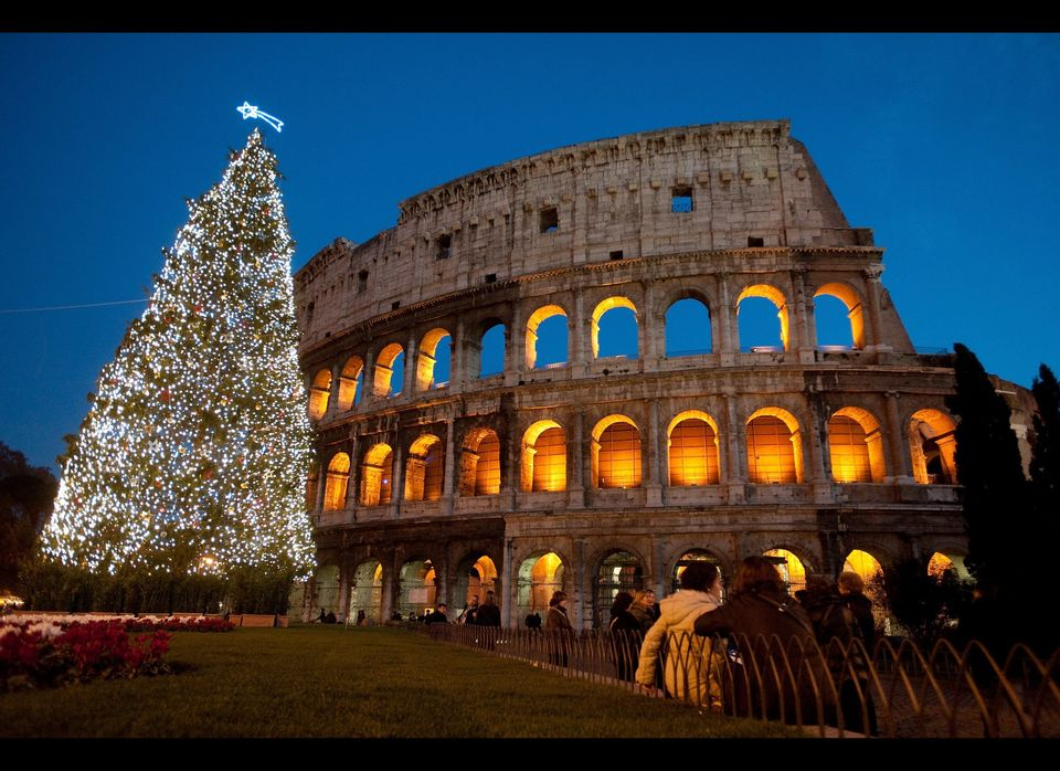 A Christmas tree is seen in front of the Coliseum, on Dec. 13, 2011 in Rome, Italy.  (Giorgio Cosulich, Getty Images)