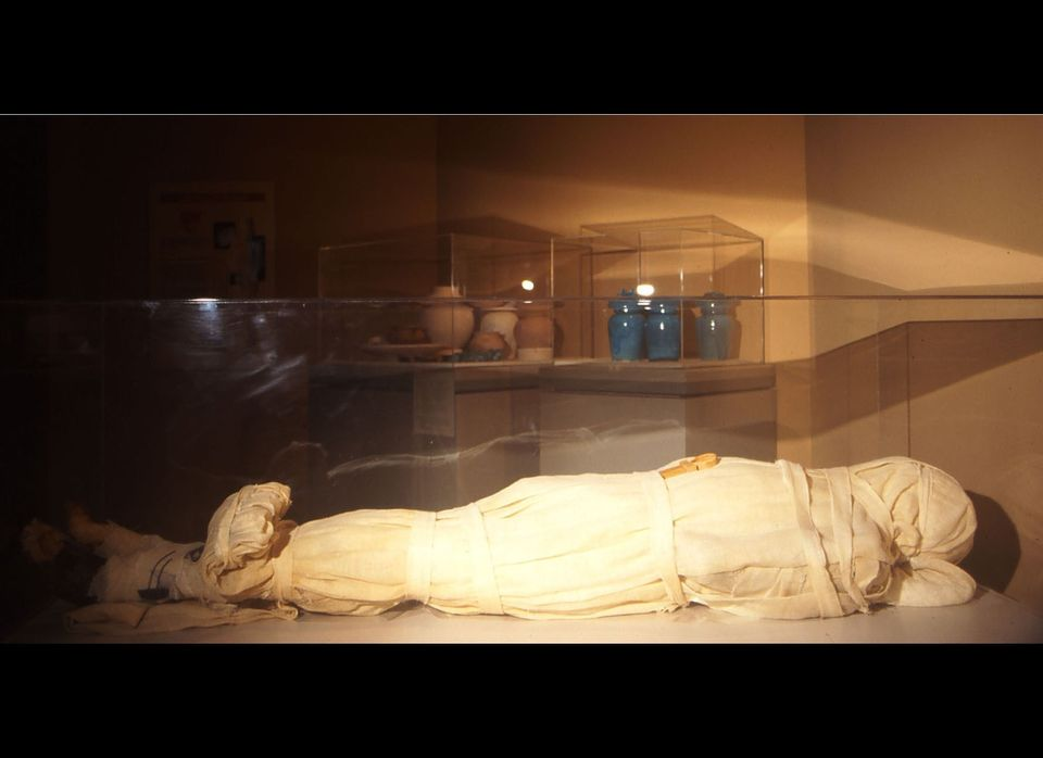 "This mummy, known as ""Mumab,"" is only 15 years old but it was done in the ancient Egyptian style by Dr. Bob Brier and Ronn Wa"