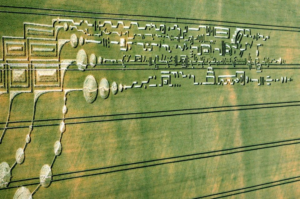June 30, 2009 - An elaborate formation from Milk Hill wheat field near Alton Barnes, England. The total length was 1,200 feet