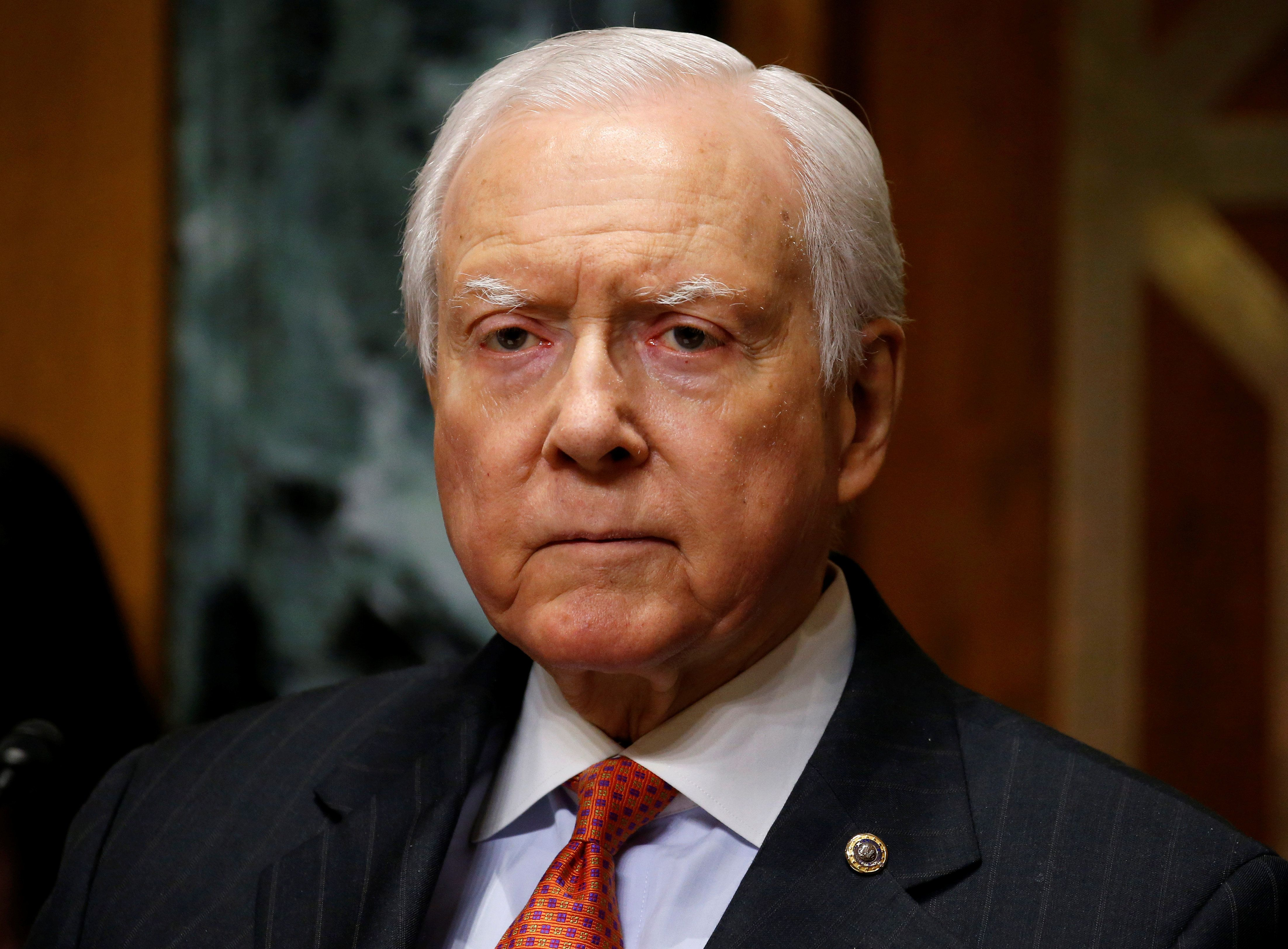 Chairman of the Senate Finance Committee Orrin Hatch (R-UT) listens as Alex Azar II testifies on his nomination to be Health and Human Services secretary in Washington, U.S., January 9, 2018.   REUTERS/Joshua Roberts