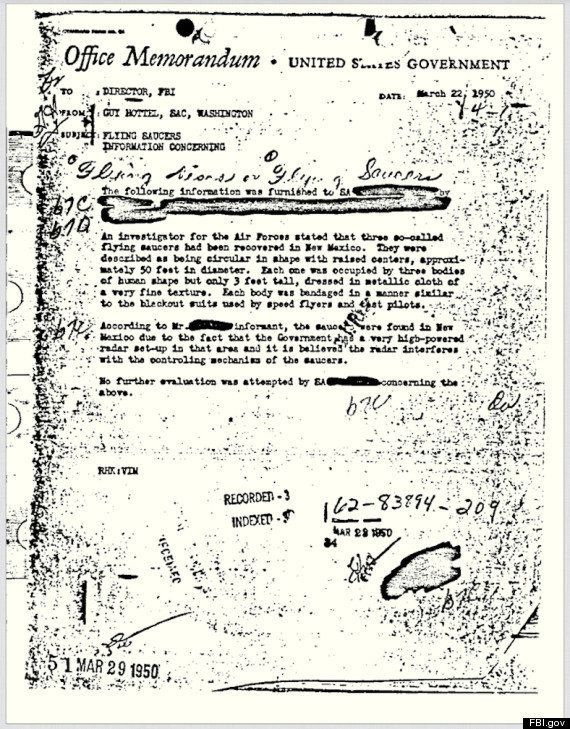 A one-page internal 63-year-old memo about a UFO report involving three alleged flying saucers and alien bodies recovered in