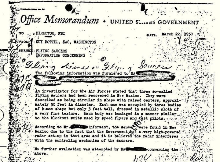 FBI UFO Document Is The Most Popular Of All Its 'Vault