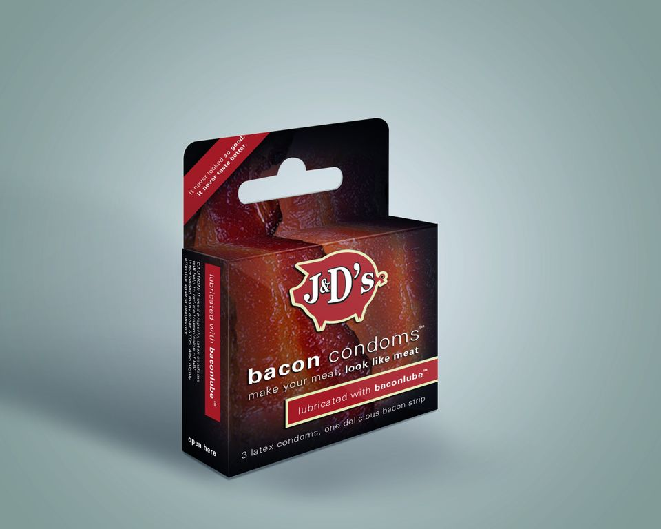 "J&D's Foods Bacon Condoms are just the latest from<a href=""http://www.jdfoods.net/"" target=""_blank""> the creators of Baconnai"