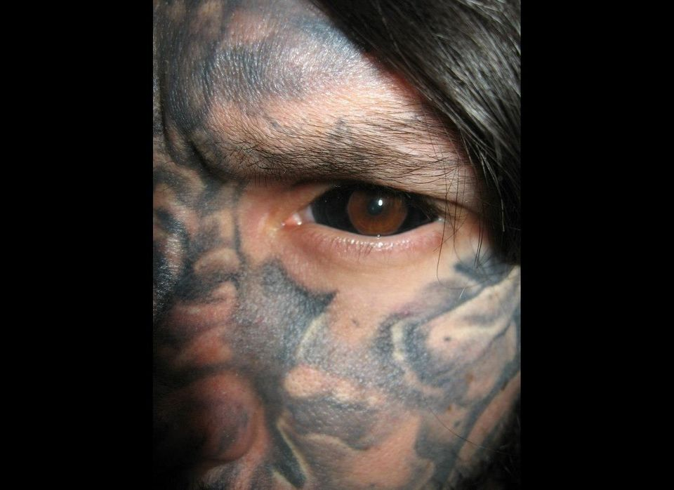 Russ injected black dye into the sclera, to achieve this look.