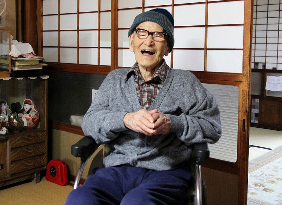 In this photo taken Oct. 15, 2012 and released by Kyotango City, Jiroemon Kimura smiles after he was presented with the certi