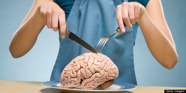 woman eating brain food