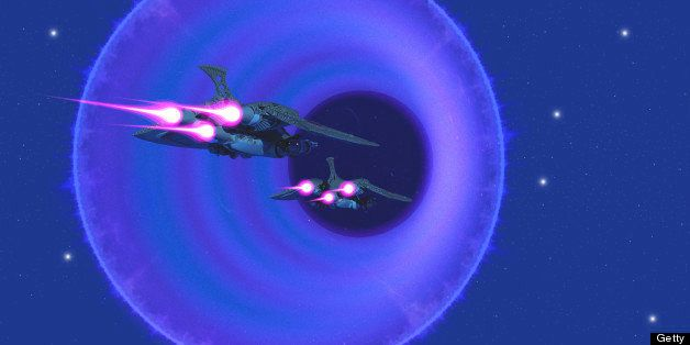 Two spaceships enter a wormhole in outer space to get to a universe in another part of the galaxy.