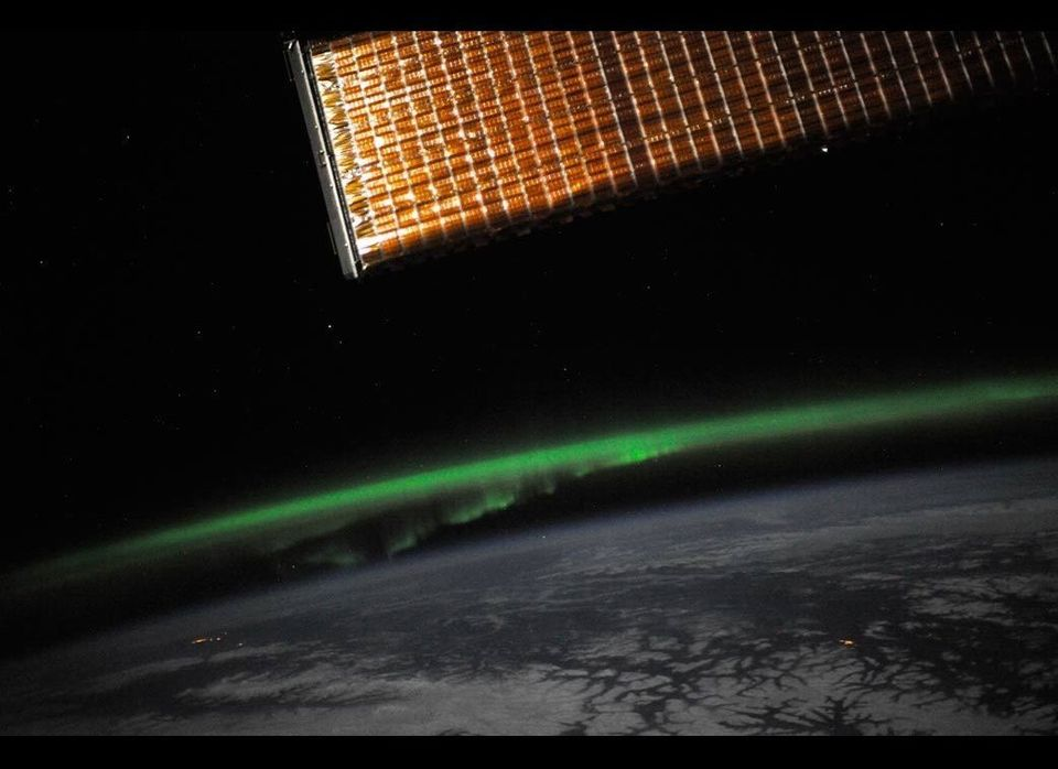 Aurora Borealis, or Northern Lights, as seen from the International Space Station. The image was sent from the twitpic accoun
