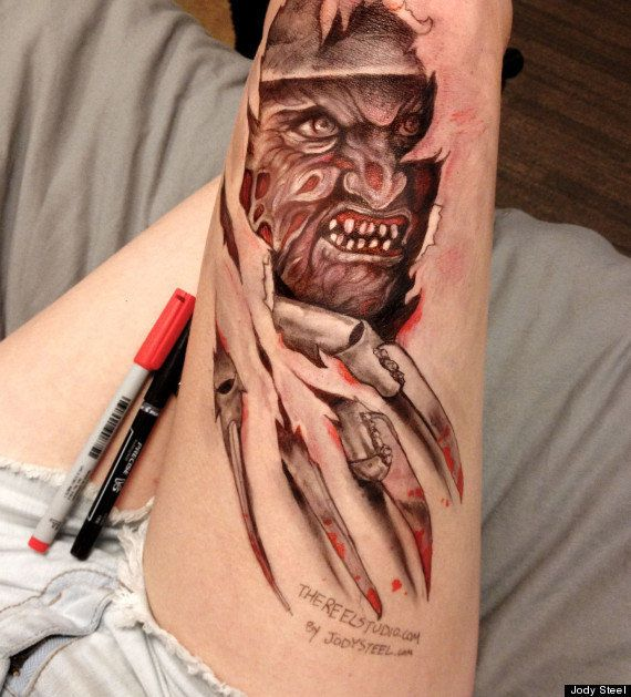 ... But she got a job out of it. Here, Freddy Krueger rips through her leg.