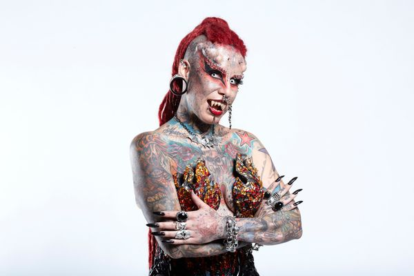 """Maria Jose Cristerna, the famed """"Vampire Lady of Mexico,"""" holds the world record for Most Body Modifications by a Female with"""
