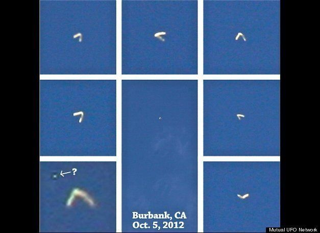 This is a composite of images shot by two eyewitnesses of a boomerang-shaped UFO they reported seeing over their Burbank, Cal