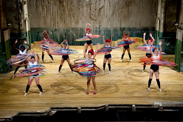 The record for Most Hula Hoops Spun Simultaneously by a Group -- 264 --was set in the United Kingdom by a team of 10 dancers