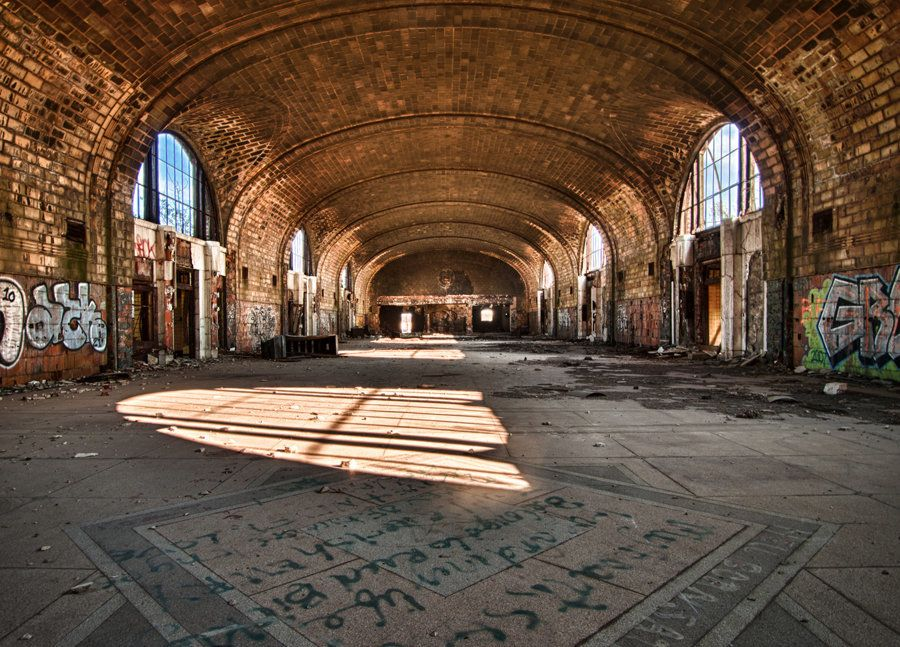The main lobby of the abandoned East Central Station in Buffalo, NY.