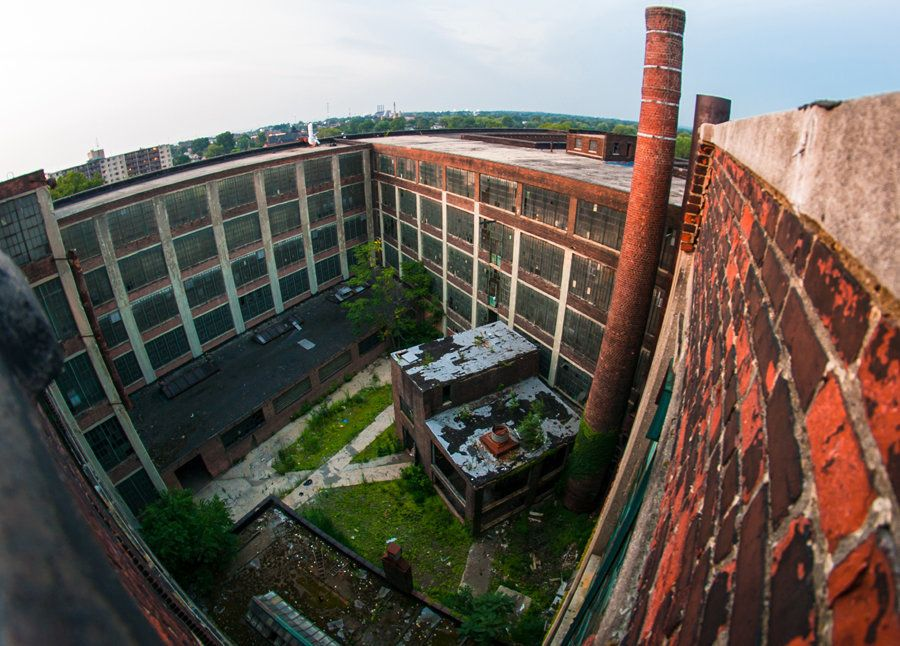The wide open courtyard of the Richman Bros factory in Cleveland, OH. This factory was the first in the U.S. to provide two-w
