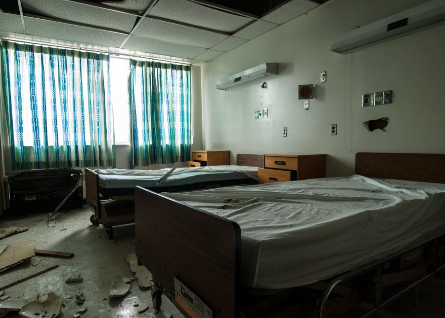 Hospital beds remain within the Detroit Hope Hospital.
