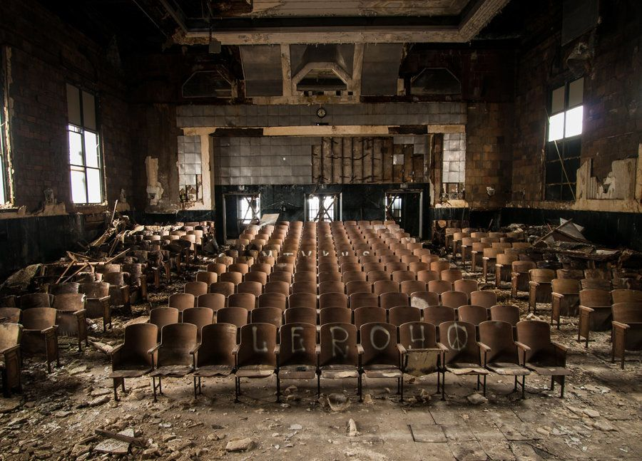 A vast, silent auditorium within a school in Pennsylvania.