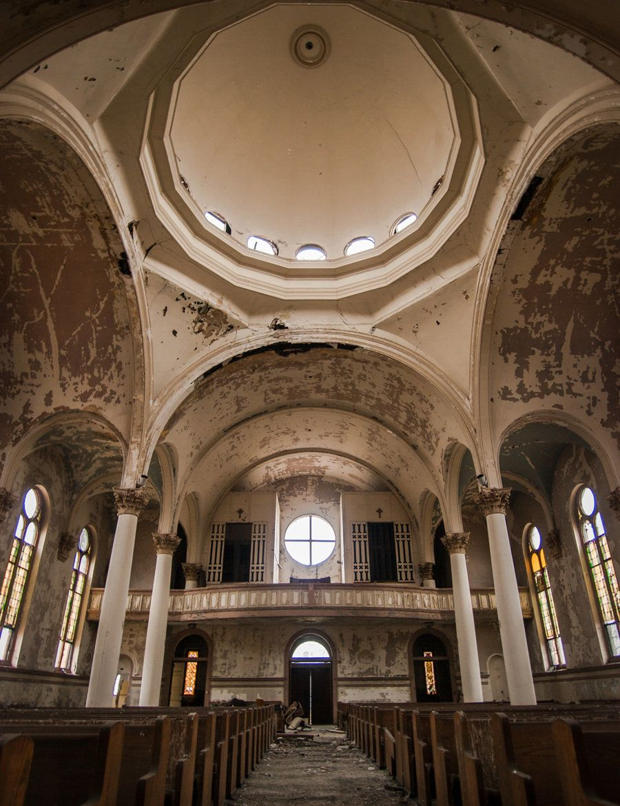 The large domed ceiling of an abandoned church in Pennsylvania.