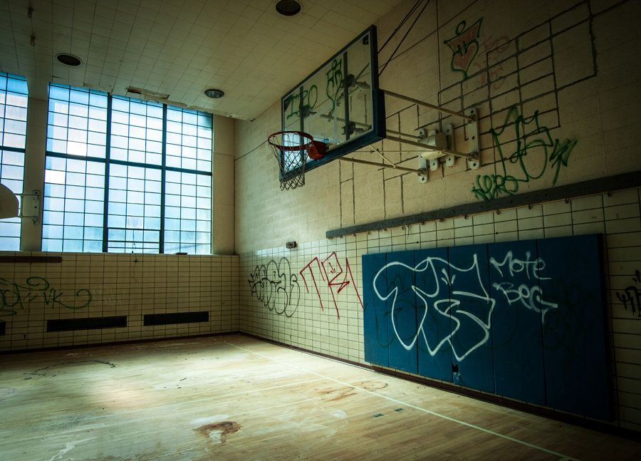 A calm, abandoned gym within the former YMCA of Cleveland, OH.
