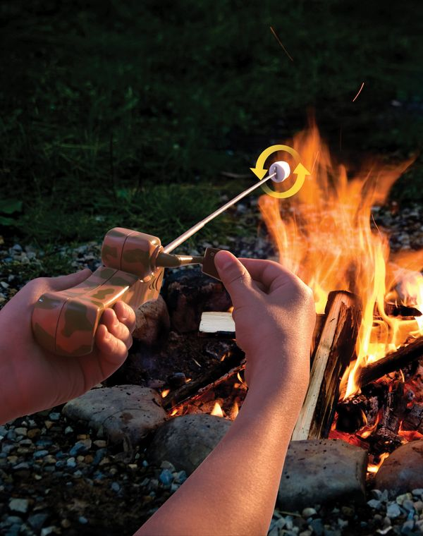 Nothing is more relaxing than roasting weenies or marshmallows over an open fire, but the constant turning needed for an even