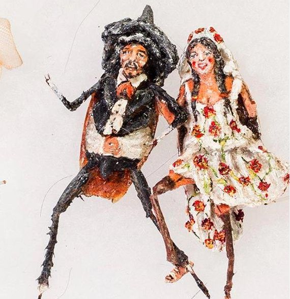 This Mexican wedding scene was painted on two cockroaches.