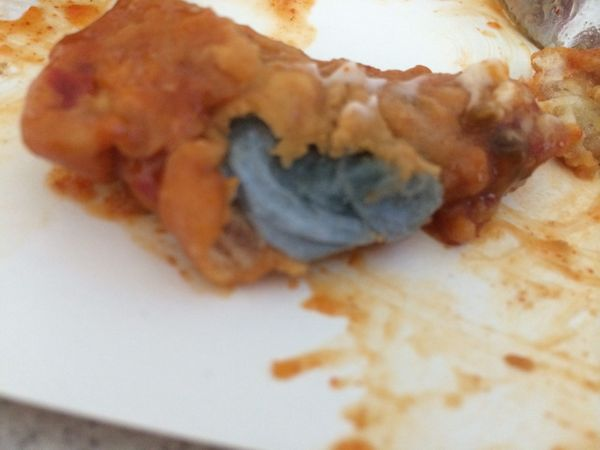The battered toilet roll found in Crystal Henderson's KFC meal.