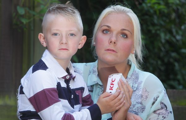 Crystal Henderson from Newcastle, with stepson Oliver, 7, who are unhappy with the customer service they have received from K