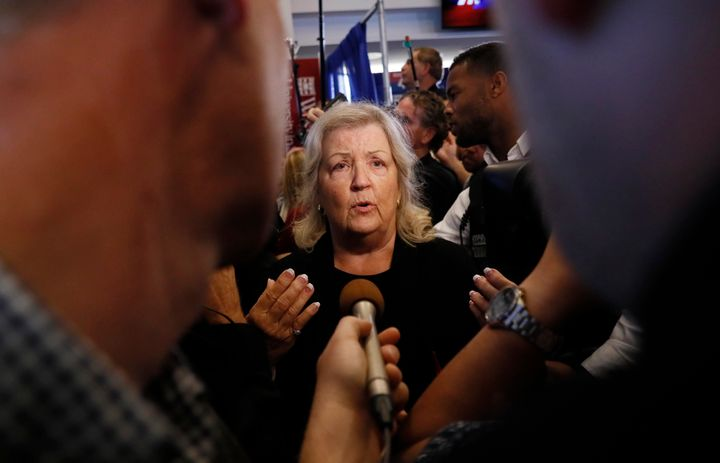 Juanita Broaddrick speaks after a town hall debate between presidential candidates Donald Trump and Hillary Clinton on Oct. 9