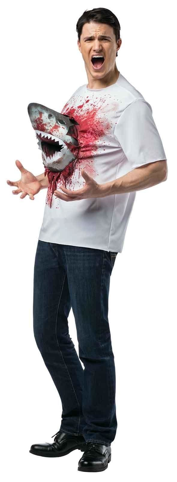 "This <a href=""http://www.buycostumes.com/p/806863/sharknado-with-shark-t-shirt"" target=""_blank"">shark shirt</a> is perfect fo"