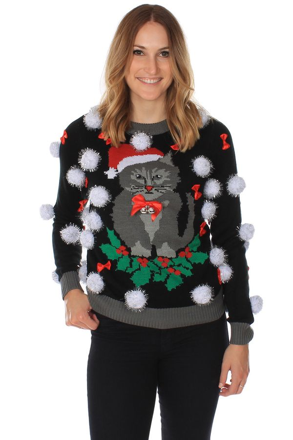 """If you are trying to go truly 'ugly, <a href=""http://www.tipsyelves.com/womens-tacky-cat-christmas-sweater"" target=""_blank"">"