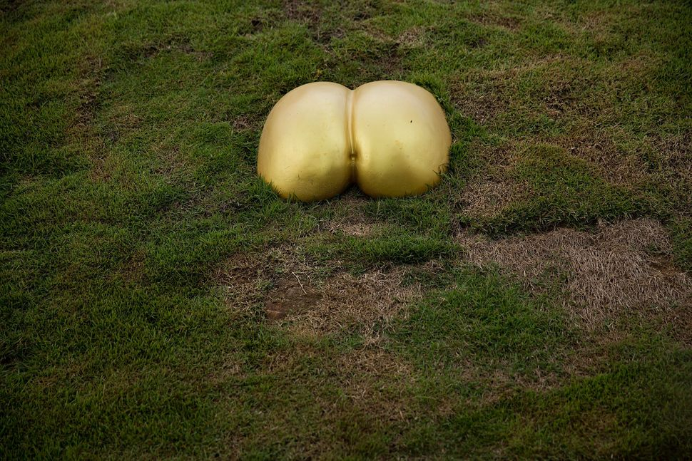 Golden buttocks jut from a hillside at the Erotic Garden and Teahouse on February 6, 2015 in Mae Rim, Thailand.