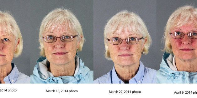 This combination of four 2014 booking photos released by the San Mateo County Sheriff's Office shows Marilyn Hartman. Federal