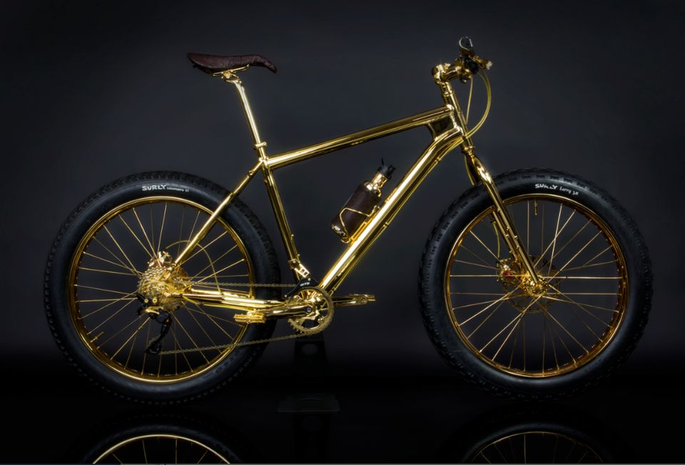 "Jewelry designer sells this<a href=""http://www.thehouseofsolidgold.com/24k-gold-extreme-mountain-bike/"" target=""_blank""> soli"